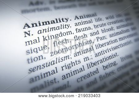Cleckheaton, West Yorkshire, Uk: Thesaurus Page Showing Definition Of Word Animality, 30th March 200