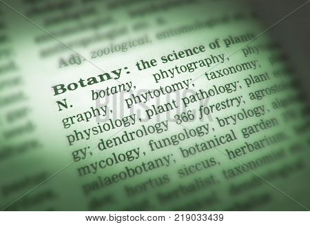 Cleckheaton, West Yorkshire, Uk: Thesaurus Page Showing Definition Of Word Botany, 30th March 2005,