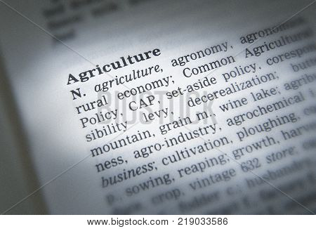 Cleckheaton, West Yorkshire, Uk: Thesaurus Page Showing Definition Of Word Agriculture, 30th March 2
