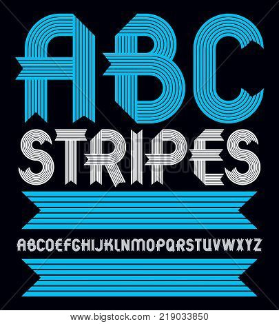 Set of trendy vector capital alphabet letters abc isolated. Geometric bold type font script from a to z can be used for logo creation. Created using geometric stripes.
