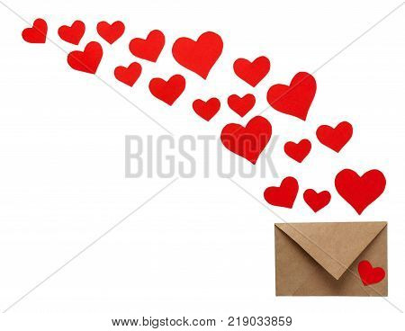 Colorful Valentine Day greeting card envelopes with heart. Red hearts pours out of the envelope isolated on white. Hearts fly out from the envelope. Love Letter.