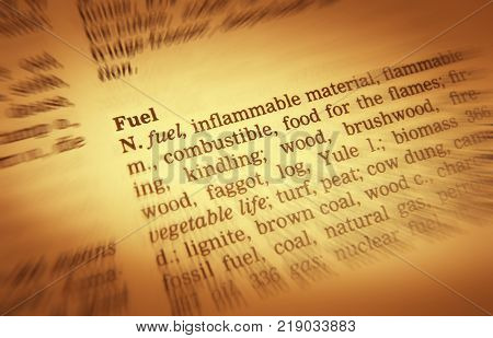 Cleckheaton, West Yorkshire, Uk: Thesaurus Page Showing Definition Of Word Fuel, 30th March 2005, Cl