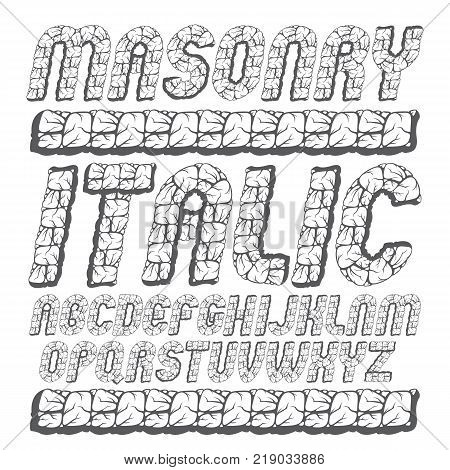 Vector antique capital English alphabet letters collection. Bold italic rounded font script from a to z can be used in art poster design. Created using masonry texture.