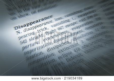 Cleckheaton, West Yorkshire, Uk: Thesaurus Page Showing Definition Of Word Disappearance, 30th March