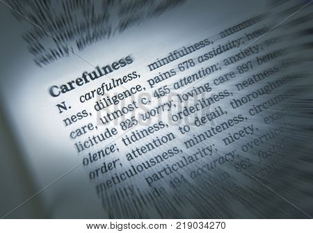 Cleckheaton, West Yorkshire, Uk: Thesaurus Page Showing Definition Of Word Carefulness, 30th March 2