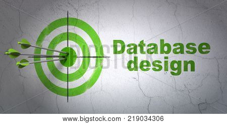Success Database concept: arrows hitting the center of target, Green Database Design on wall background, 3D rendering