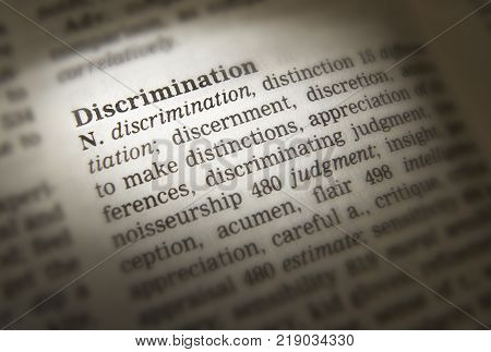 Cleckheaton, West Yorkshire, Uk: Thesaurus Page Showing Definition Of Word Discrimination, 30th Marc