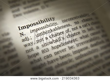 CLECKHEATON, WEST YORKSHIRE, UK: THESAURUS PAGE SHOWING DEFINITION OF WORD IMPOSSIBILITY, 30TH MARCH 2005, CLECKHEATON, WEST YORKSHIRE, UK