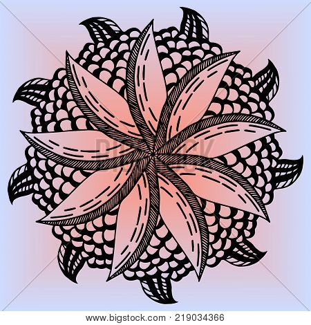 Mandala flower lemon for adults vector illustration. Anti-stress coloring for adult. Zentangle style. Black and white lines. Lace pattern