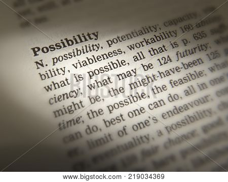 CLECKHEATON, WEST YORKSHIRE, UK: THESAURUS PAGE SHOWING DEFINITION OF WORD POSSBILITY, 30TH MARCH 2005, CLECKHEATON, WEST YORKSHIRE, UK