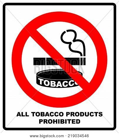 All Tobacco Products Prohibited Icon. No Smoking Sign. Vector illustration isolated on white background. Warning Forbidden Symbol, Black pictogram in red circle.