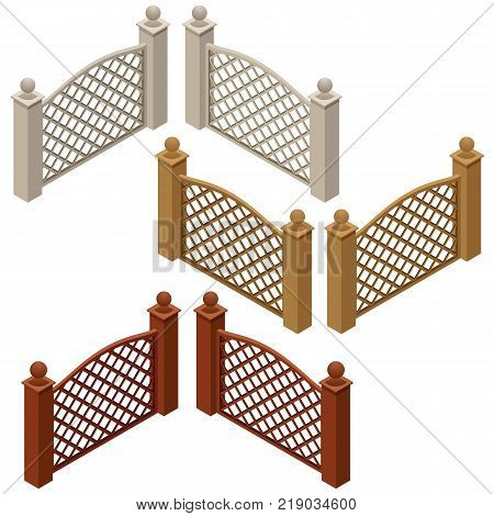 Set of farm or garden fences isolated on white background. Isometric view can be used as scene elements for game or cartoon asset. Vector illustration