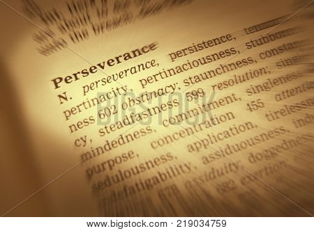 Cleckheaton, West Yorkshire, Uk: Thesaurus Page Showing Definition Of Word Perseverance, 30th March
