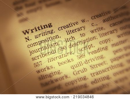 Cleckheaton, West Yorkshire, Uk: Thesaurus Page Showing Definition Of Word Writing, 30th March 2005,