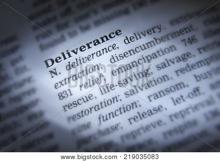 CLECKHEATON, WEST YORKSHIRE, UK: THESAURUS PAGE SHOWING DEFINITION OF WORD DELIVERANCE, 30TH MARCH 2005, CLECKHEATON, WEST YORKSHIRE, UK