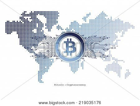 Abstract Bitcoin Crypto Currency Blockchain Technology On Global World Map. Vector Illustration.
