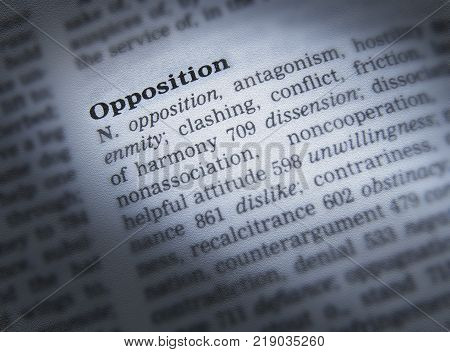 CLECKHEATON, WEST YORKSHIRE, UK: THESAURUS PAGE SHOWING DEFINITION OF WORD OPPOSITION, 30TH MARCH 2005, CLECKHEATON, WEST YORKSHIRE, UK
