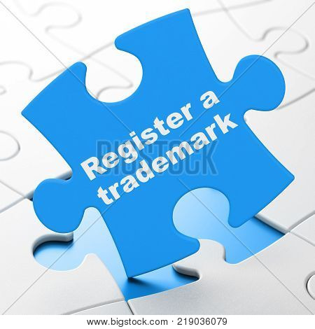 Law concept: Register A Trademark on Blue puzzle pieces background, 3D rendering
