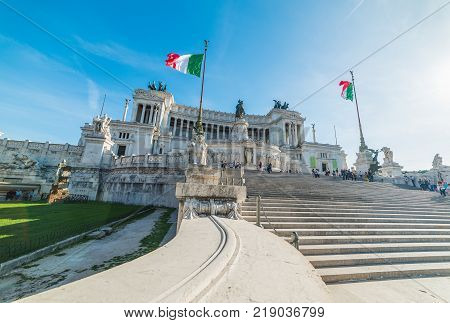 Altar of the fatherland on a sunny day in Rome Italy