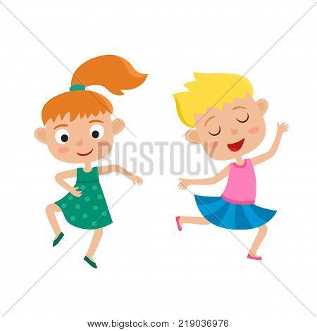Vector cartoon illustration of little graceful girls-dancer isolated on white. Set of two little happy kids dancing and smiling. Pretty dance.