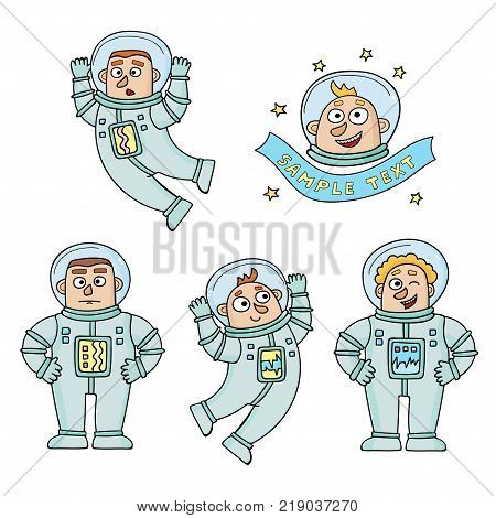 Vector set of cartoon color astronauts isolated on white. Two flying and two standing in white spacesuits. One with a banner. Collection for print, web design