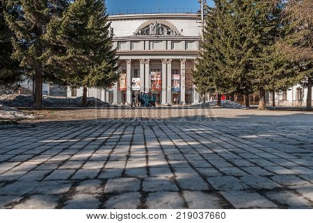 Ekaterinburg, Russia - April 10, 2010: Fragment of Military Officer's Community Center. It was built in 1938-1941. Until 1946, it was called the House of the Red Army.