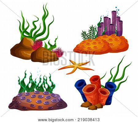 Set of isolated underwater corals or tropical ocean reefs. Aquarium nature, deep undersea wildlife with seaweed. Cartoon exotic corals. Nautical and maritime, aqua and deep water theme