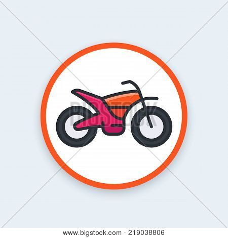 offroad bike, motorcycle vector icon, flat style with outline