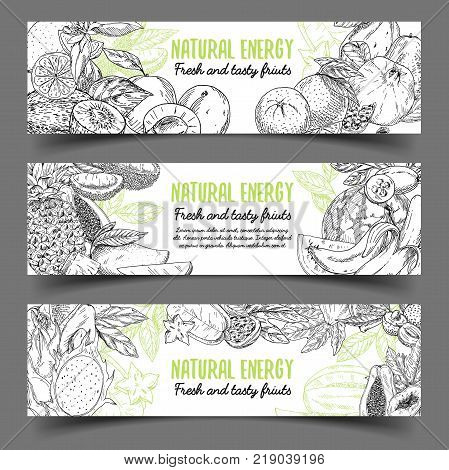 Signs or badges with organic natural fruits. Orange and apple, pear and mango and lychee, kiwi and banana, guava and durio, common fig and feijoa, pomegranate and avocado. Vegetarian nutrition