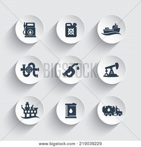 Petroleum industry icons set, gas station, petrol canister, gasoline nozzle, oil production platform vector pictograms