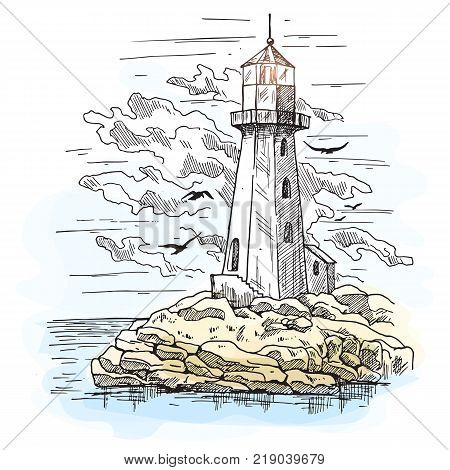 Lighthouse on island with rocks and cloudy sky with birds. sketch.Island with beacon or searchlight that light path for sailors. Nauticalhazard detection and seashore, sea and ocean, architecture theme