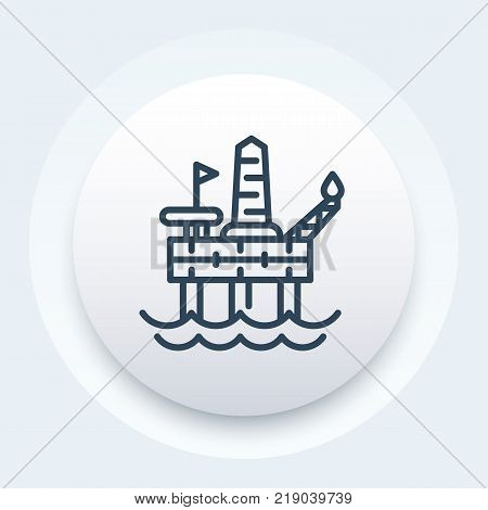oil drilling platform icon, offshore rig, linear style