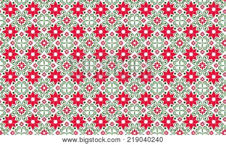 Seamless pattern of red, white and green. Russian pattern, summer pattern Spring background Summer background Red and green background. Pattern for the oil chamber. Vector eps 10 illustration