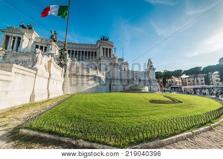 Rome Italy - October 12 2017: Green lawn by Altar of the Fatherland