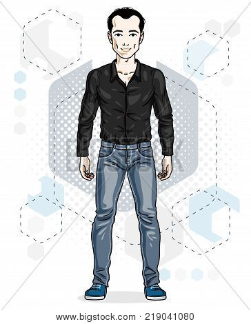 Confident handsome brunet young man standing. Vector illustration of male wearing casual clothes jeans pants and cotton shirt.