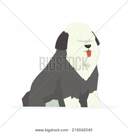 Cute bobtail - modern vector cartoon characters illustration isolated on white background. An image of a friendly furred dog also called old English sheepdog. High quality composition for a poster