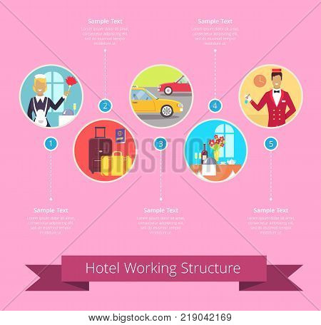 Hotel working structure diagram with departments represented by housekeeper, bellman, baggage or restaurant table. Vector illustration isolated on pink