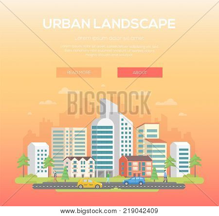 Urban landscape - modern vector illustration with place for text on light orange background. Nice town, city with skyscrapers and small low storey buildings, trees, people, cars, clouds in the sky