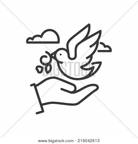 Dove of peace - line design single isolated icon. High quality black pictogram. An image of a hand and a flying bird with an olive branch in its beak. The symbol of love, pacifism, messenger