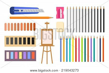 Art supplies vector illustration with icons of easel, colorful and colorlrss pencils, various paints and other tools and instruments for painting