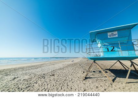 Lifeguard hut in Oceanside shore in California