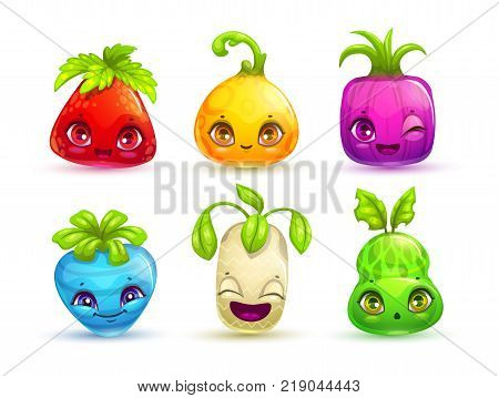 Funny cartoon colorful fantasy plant characters set. Vector assets for game design. poster