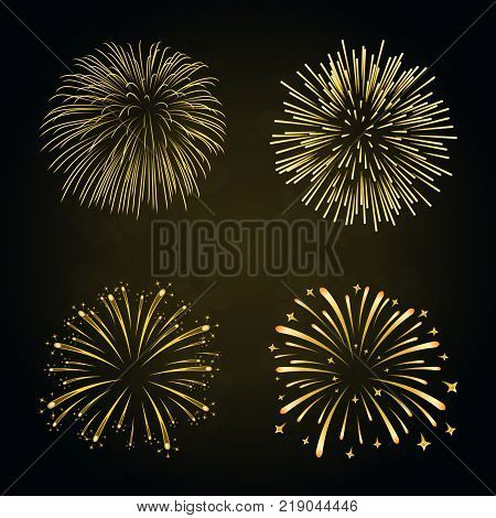 Beautiful gold fireworks set. Bright fireworks isolated black background. Light golden decoration fireworks for Christmas New Year celebration holiday festival birthday card Vector illustration