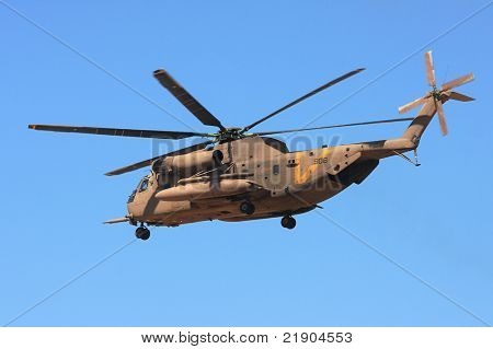 ISRAEL- SEPTEMBER 13: Heavy military helicopter Sikorsky CH-53 of the Israel Defense Forces  after take off from the base during military exercise took place on September 13, 2009 in Israel.