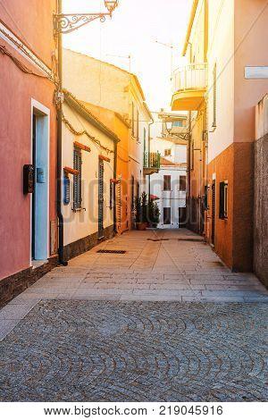 Narrow street in La Maddalena old town Sardinia