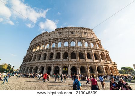 Rome Italy - October 13 2017: tourists in Colosseo square