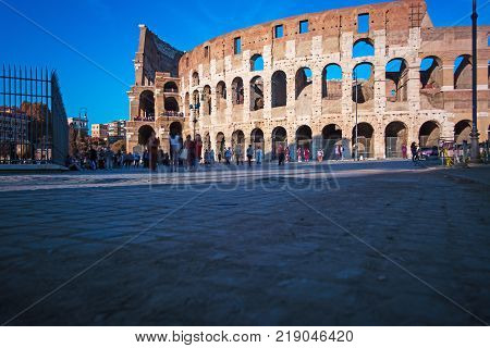 World Famous Coliseum at sunset. Rome Italy