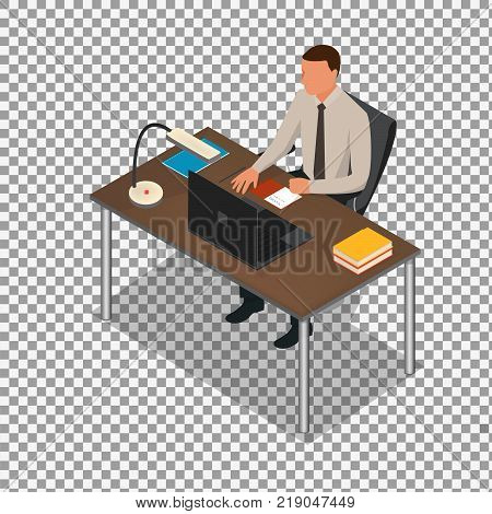 Isometric business people concept. man studding on transparent background. Isometric office: table, laptop, books, notebook. Isolated on white background. - stock vector