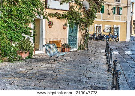 Metal bench in La Maddalena seafront Sardinia