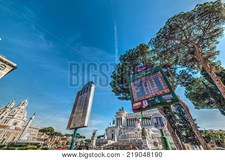 Rome Italy - October 12 2017. Bus stop in Venice square with Altar of the fatherland on the background